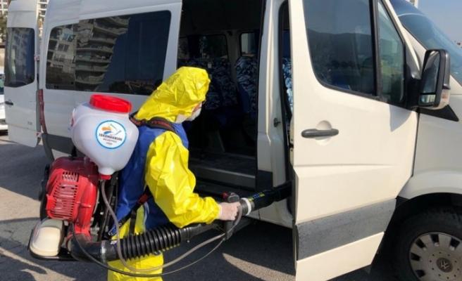 İskenderun Belediye Başkanı Fatih Tosyalı: Minibüsler, Servisler ve Taksiler dezenfekte edildi.
