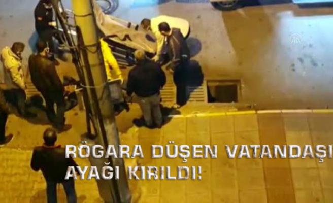 Rögara Düşen Vatandaşın Ayağı Kırıldı!