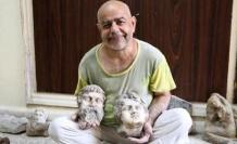 Evini atölyeye çeviren sanatçı, Antik Roma döneminin heykellerini yapıyor