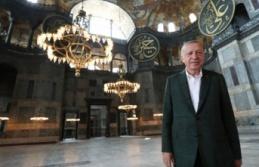 Erdoğan, Ayasofya'da incelemelerde bulundu