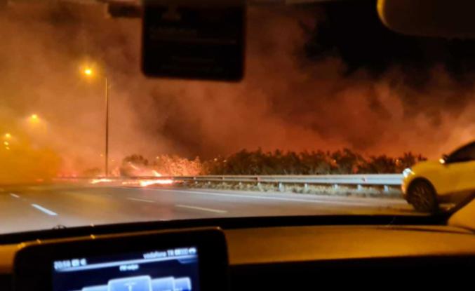 İskenderun-Adana otobanında    üç ayrı noktada yangın