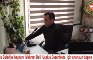 Kumlu Belediye Başkanı Mehmet Deli'den bir ilk...Havadan dezenfekte...